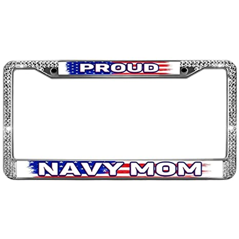 Amazon.com: AUTO Bling License Plate Frame Proud Navy MOM ...
