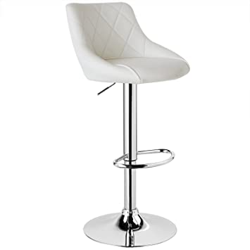 Woltu Bar Stool Faux Leather Kitchen Stool Barstool White Seat