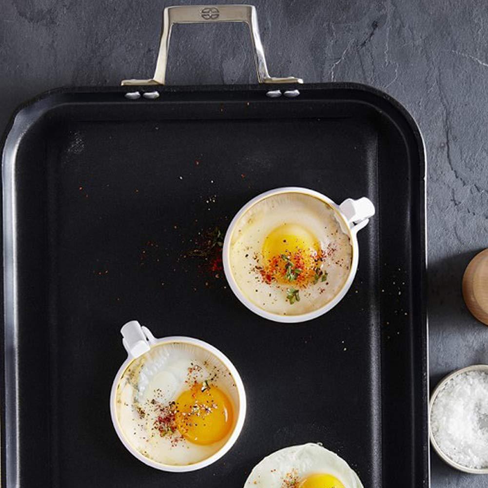 2.5 CM blanc 10.2 Omufipw 2/pcs Anneau /Œuf Pancake Moule /à bague Poign/ées antiadh/ésive Po/êle /à frire Omelette 10.2