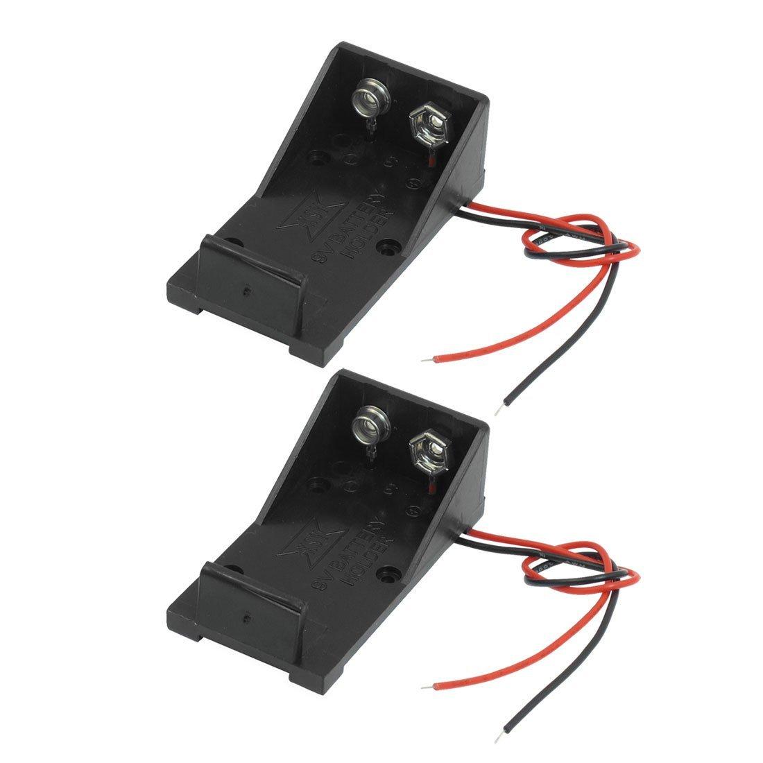 SODIAL(R) 2 Pcs Black Plastic 9V Batteries Battery Case Holder w Wire Leads
