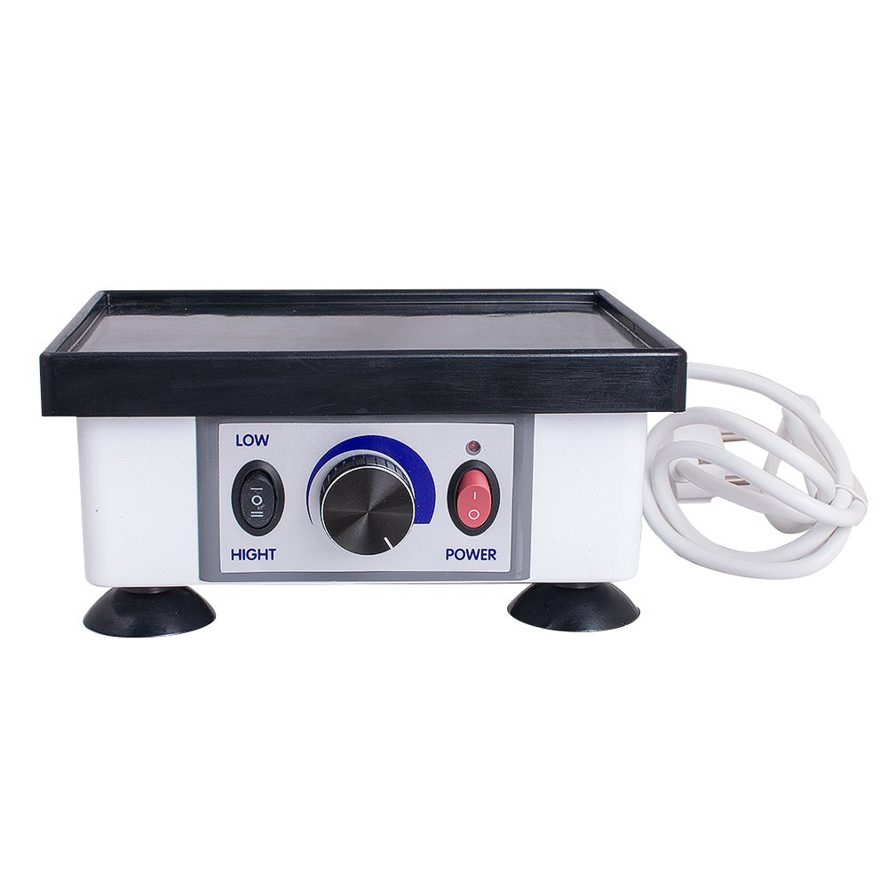 Enshey 110v/220v 120W Dental Lab Square Vibrator Dental Model Quartet Vibrator Lab Oscillator Small Max Load 2KG Vibrating Lab Equipment Adjustable Variable Speed for Cast Agar Replication Model