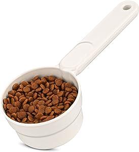 MSBC Melamine Pet Food Scoop, Cat Food Measuring Cups, Comfortable Long Handle Scoop for Dog, Cat, Ferret and Rabbit Food, 1 Cup Size Pet Food Feeding Scoop Dishwasher Safe (White)