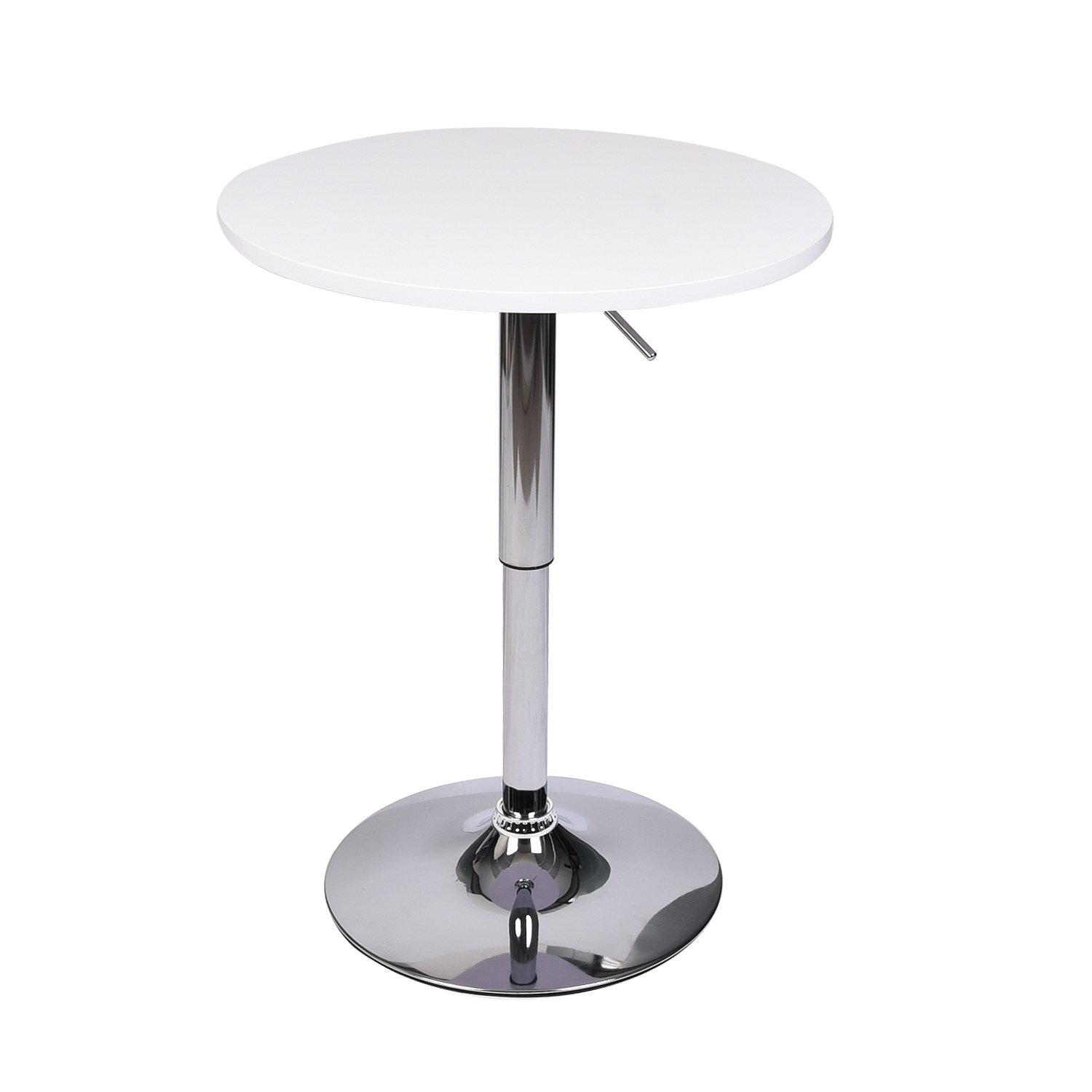 35 Inches Round Bar Table Adjustable Height Chrome Metal and Wood Cocktail Pub Table MDF Top 360°Swivel Furniture (White 1)