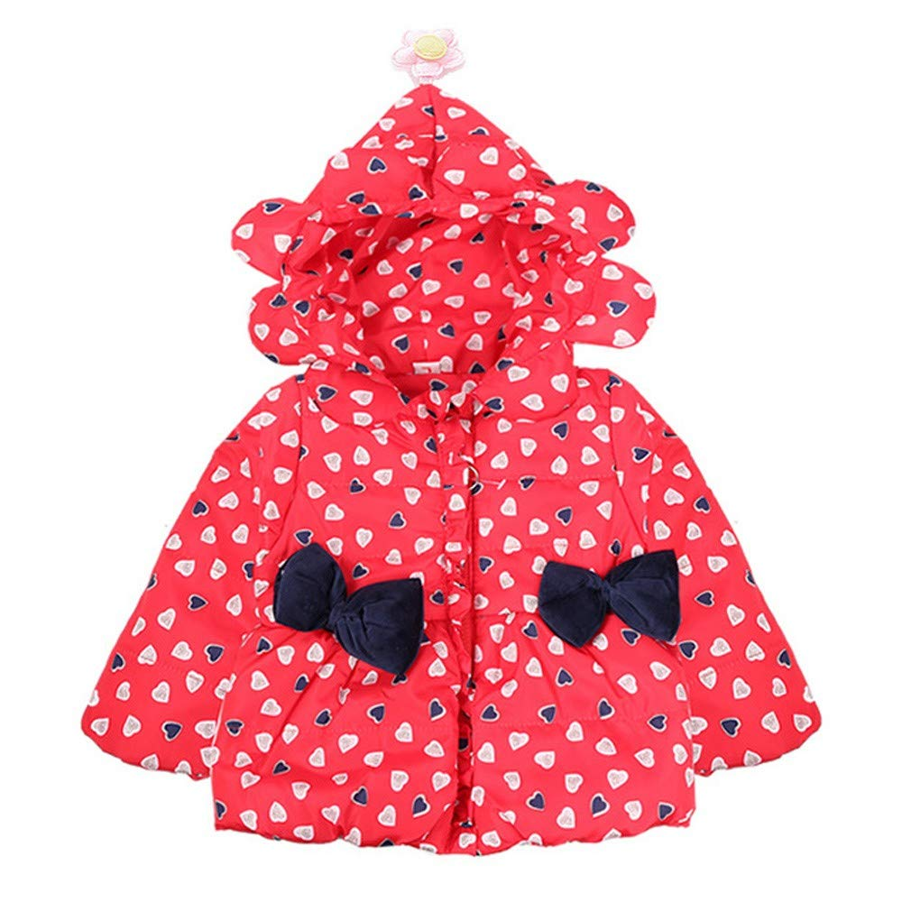 Willsa Baby Girls Jacket, Loving Heart Bow Winter Warm Hooded Windproof Coat