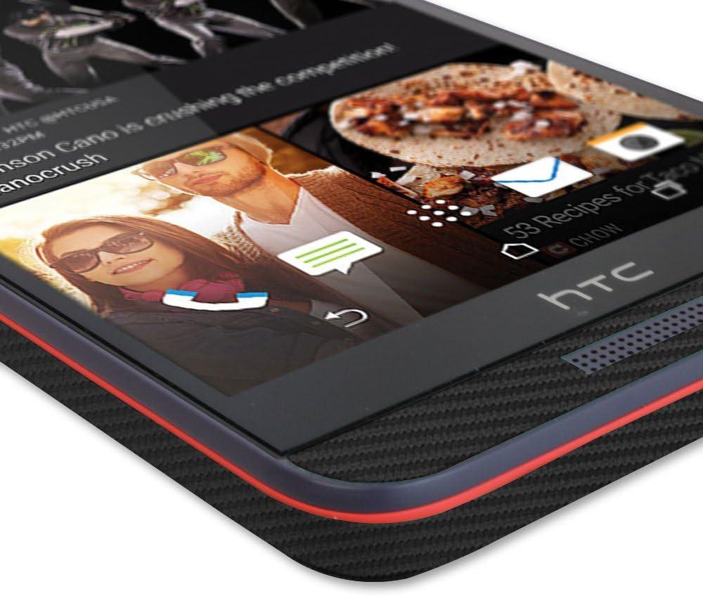 TechSkin with Anti-Bubble Clear Film Screen Protector USA Version, Desire 626s Full Coverage Skinomi Black Carbon Fiber Full Body Skin Compatible with HTC Desire 626