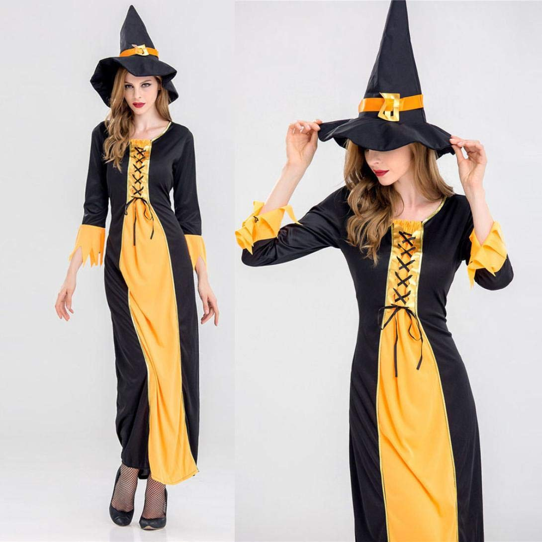 ... Witch Dress Disfraz de Halloween Adulto + Sombrero Disfraz de Bruja de Halloween Traje Adulto Traje de Cosplay Camisetas: Amazon.es: Ropa y accesorios