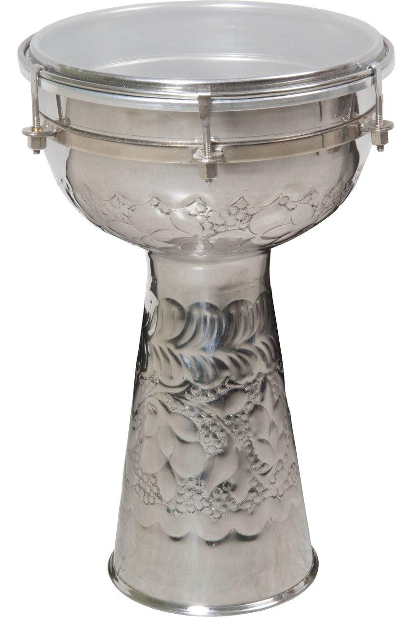 Nickeled Brass Doumbek, 8'' x 14''