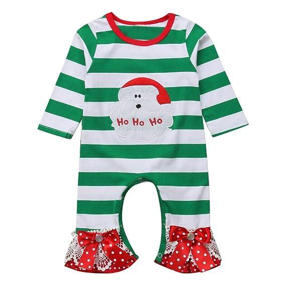 POLP Niño Unisex Ropa Infantil para bebé de Las niñas con Estampado de Papá Noel a Rayas Navidad Mameluco Traje de Invierno Recién Nacido Bebé ...