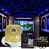 AKEPO 16W RGBW Twinkle Music+APP Control Fiber Optic Lights Star Ceiling Light Kit Car Home Use, LED Light Source + Optical F