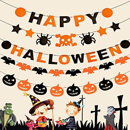 Monopril Home DIY Halloween Banner Kit Include Pumpkin Bat Garland for Halloween Party