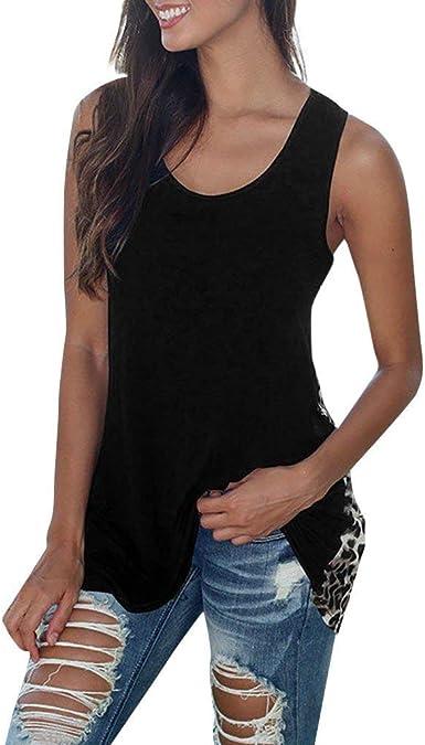 Camisetas Sin Mangas Mujer Casual Camiseta de Tirantes Tank Tops Mujer Vestir Ropa Elegante Fiesta Blusa Negro Chaleco de Leopardo Largo S/M/L/XL POLP: Amazon.es: Ropa y accesorios