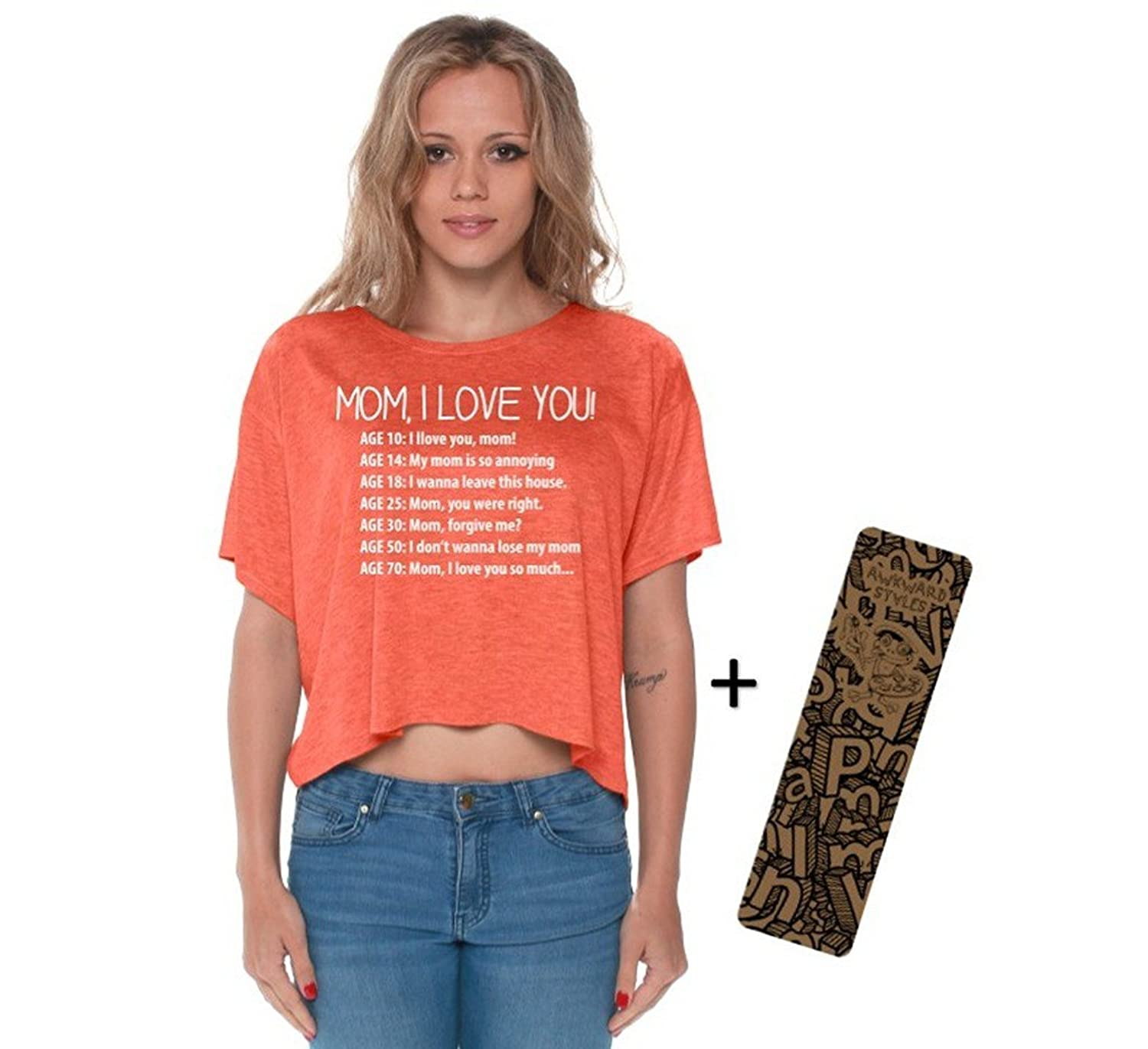 Awkwardstyles Mom I Love You Boxy Crewneck Flowy Crop Top White + Bookmark