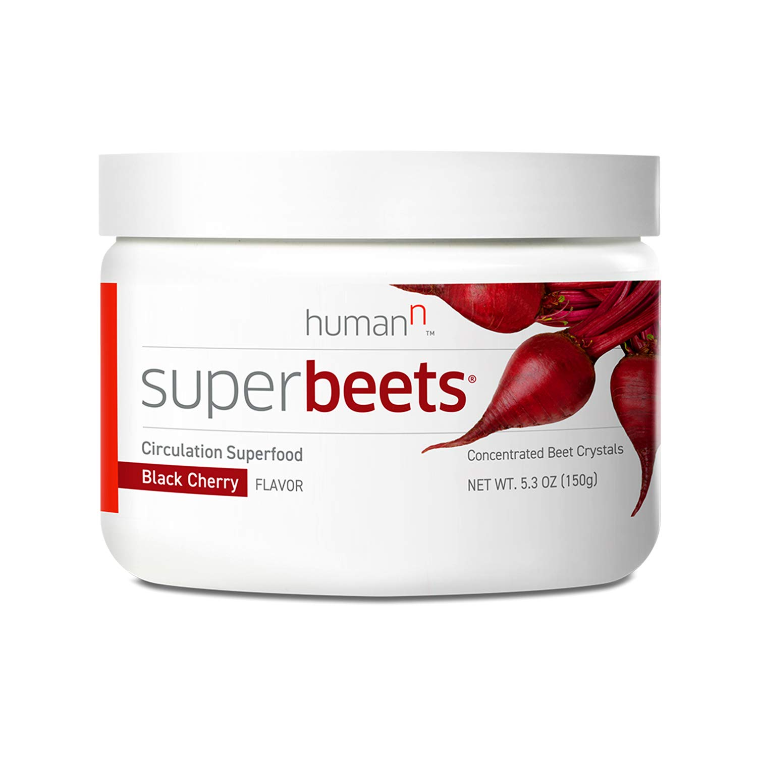 HumanN SuperBeets Circulation Superfood Concentrated Beet Powder Nitric Oxide Boosting Supplement (Black Cherry Flavor, 5.3-Ounce) by HumanN