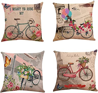 Fossrn Fundas cojines 45x45 Moderno Flores Bicicleta Fundas de ...