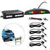Eunavi Car Reverse Parking Sensor System Car Parking Reverse Reversing Backup Radar System with 4 Parking Sensor Kit LED Display - Black