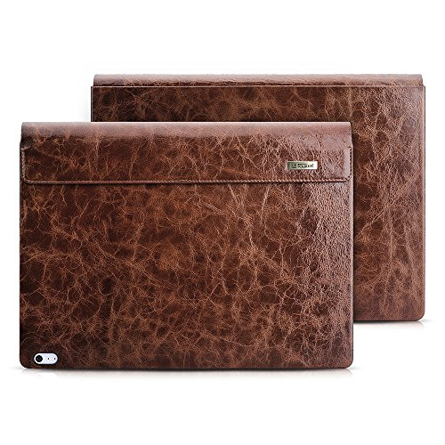 Surface Book 2 Case, Icarer Vintage Series Genuine Leather Detachable Folio Cover...