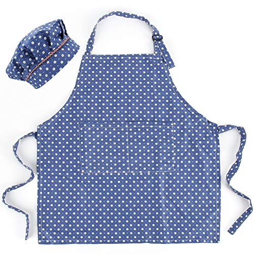 CRJHNS Kids Apron and Chef Hat Set, Adjustable Cotton Child Aprons with 2 Pockets Cute Girls Kitchen Bib Aprons for Cooking Baking Painting (Small, Blue)