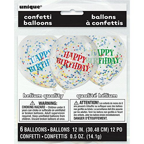 [해외]12 생일 풍선 색종이 풍선 모듬 (6ct)/12  Assorted Happy Birthday Confetti Balloons, 6ct