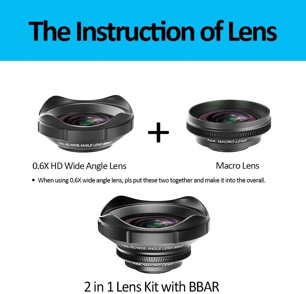 0.6X Wide Angle Lens Samsung Smartphones and Tablet iPhone 8//8 Plus// 7//7 Plus// 6s// 6// 5s Cell Phone Camera Lens Kit ARORY 2 in 1 Wide Angle Lens for iPhone 12X Macro Lens for iPhone x