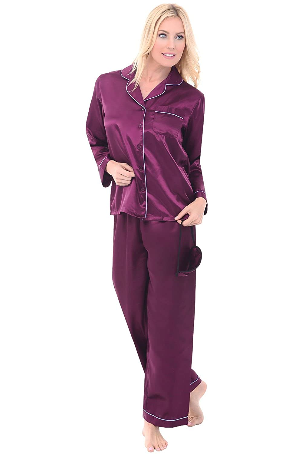Del Rossa Women's Satin Pajamas, Long Button-Down Pj Set and Mask