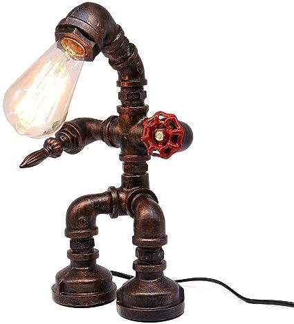 Lámpara de mesa creativa de hierro de ALIYAYA, luz de tubo de agua ...
