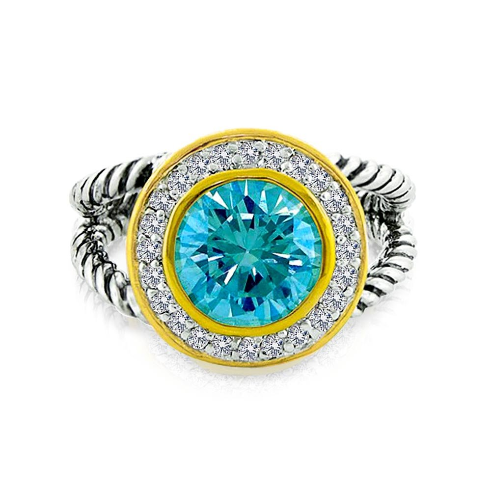 Round Aqua Blue Solitaire Cubic Zirconia Halo CZ Two Tone Cable Split Band Statement Ring For Women 925 Sterling Silver