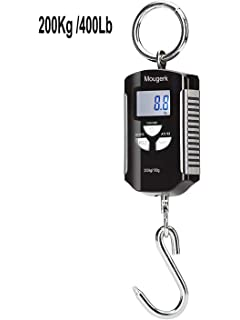 Mougerk 200 kg / 400 lb Digital Fish Scale Portable Hanging Scale 2 AAA Batteries(
