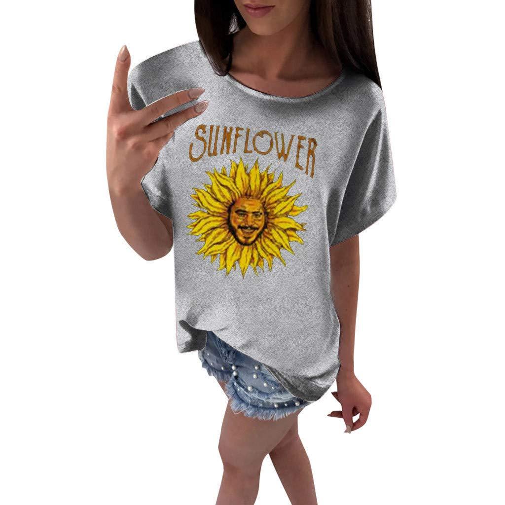 Benficial Women Plus Size Sunflower Print Short Sleeved T-Shirt Blouse Tops 2019 Summer Gray
