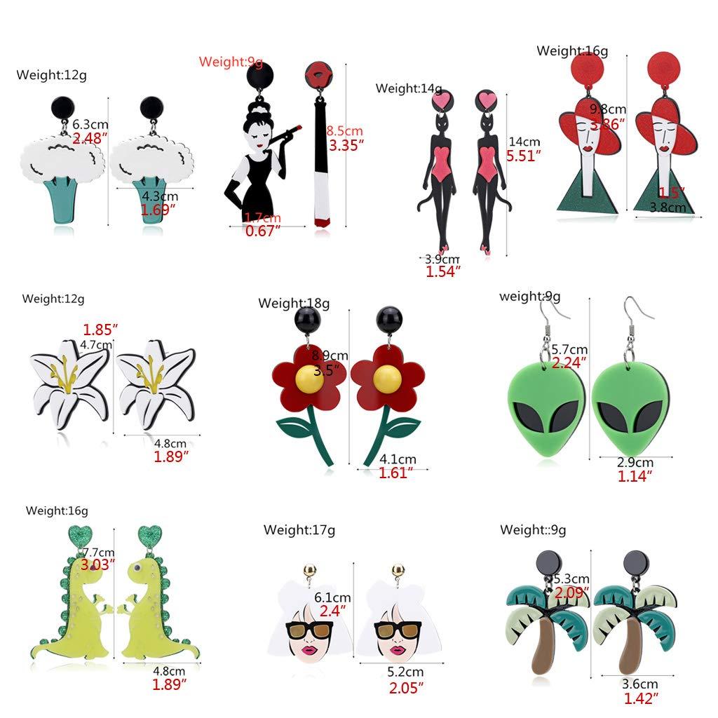 Incdnn Divertenti orecchini pendenti in acrilico a forma di alieno con fiore di gatto gioielli alla moda