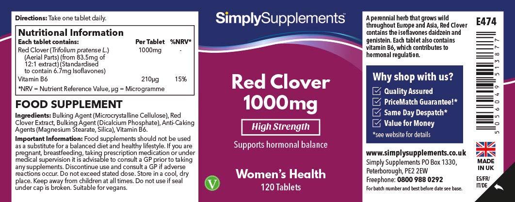Trébol rojo 1000mg - ¡Bote para 4 meses! – Apto para veganos – 120 comprimidos – SimplySupplements