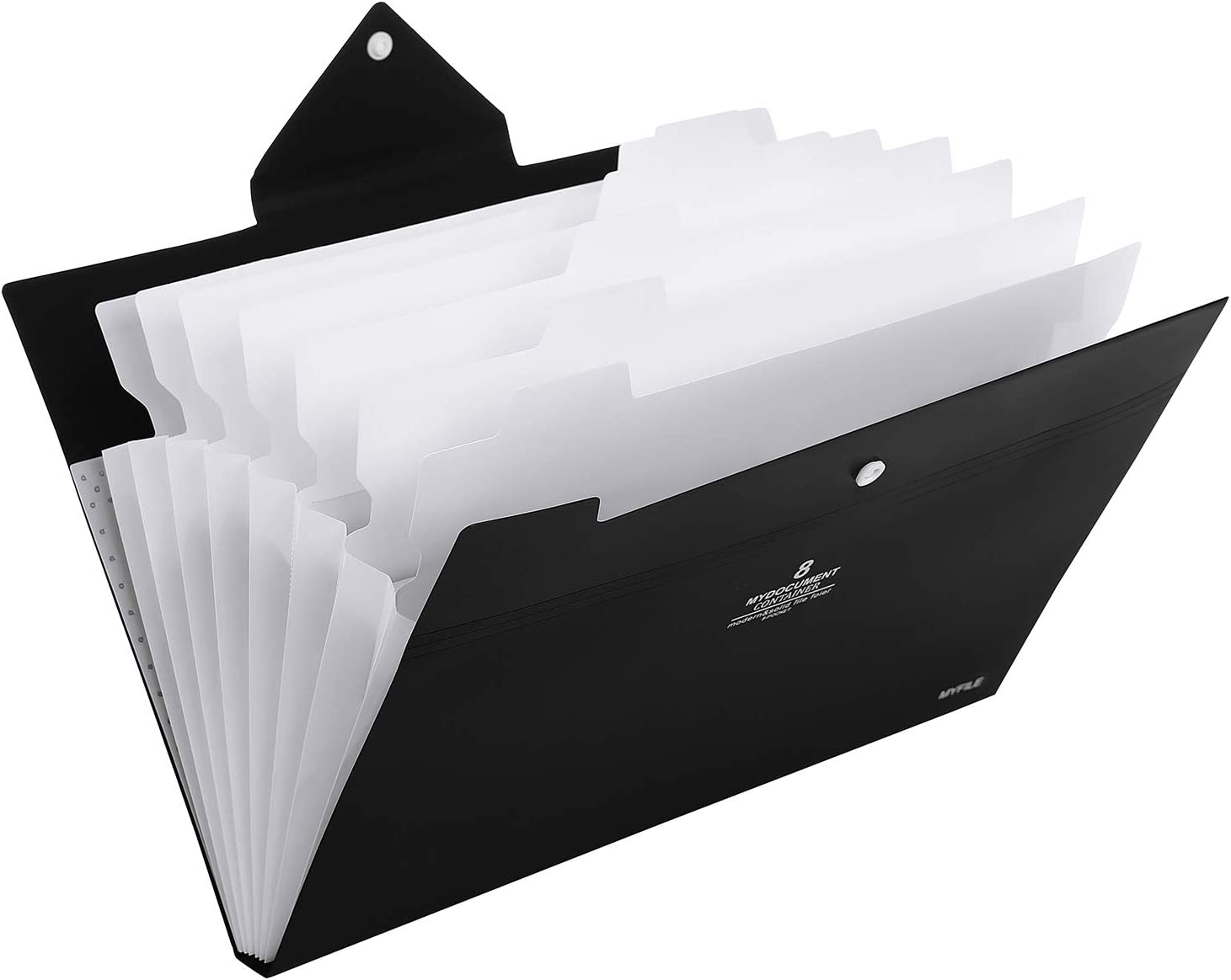 Skydue Office File Folders with 8 Pockets Letter Size Expanding Accordion Document Paper File Organizer (Black)