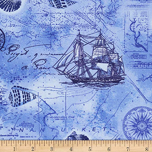 Timeless Treasures Nautical Mile Nautical Map Ocean Fabric Fabric by the Yard