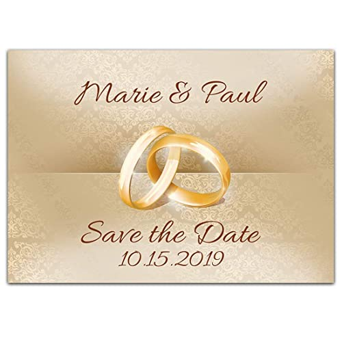 Amazon Com Rings Save The Date Card Wedding Invitation Handmade