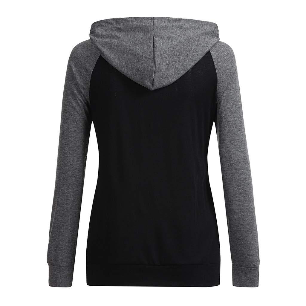 Caerling Damen Stillshirt Umstandsmode Kapuzenpullover Farbabstimmung Still-Sweatshirt Kontrastdetails Stillen Lagendesign