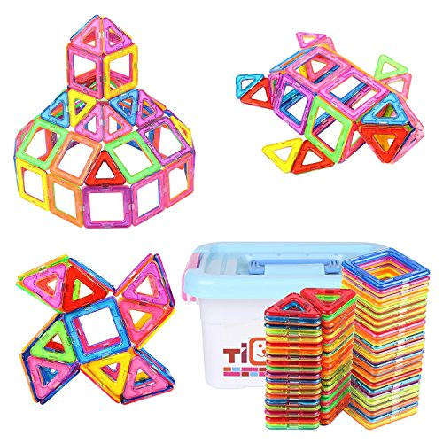 Tidbits Magnetic Toys Building Tile Blocks Stack Set 64 Pieces, Transparent Colorful, Educational Construction Learning, Stacking Toy with Alphabet, Wheels, Geometric Shapes For Kids
