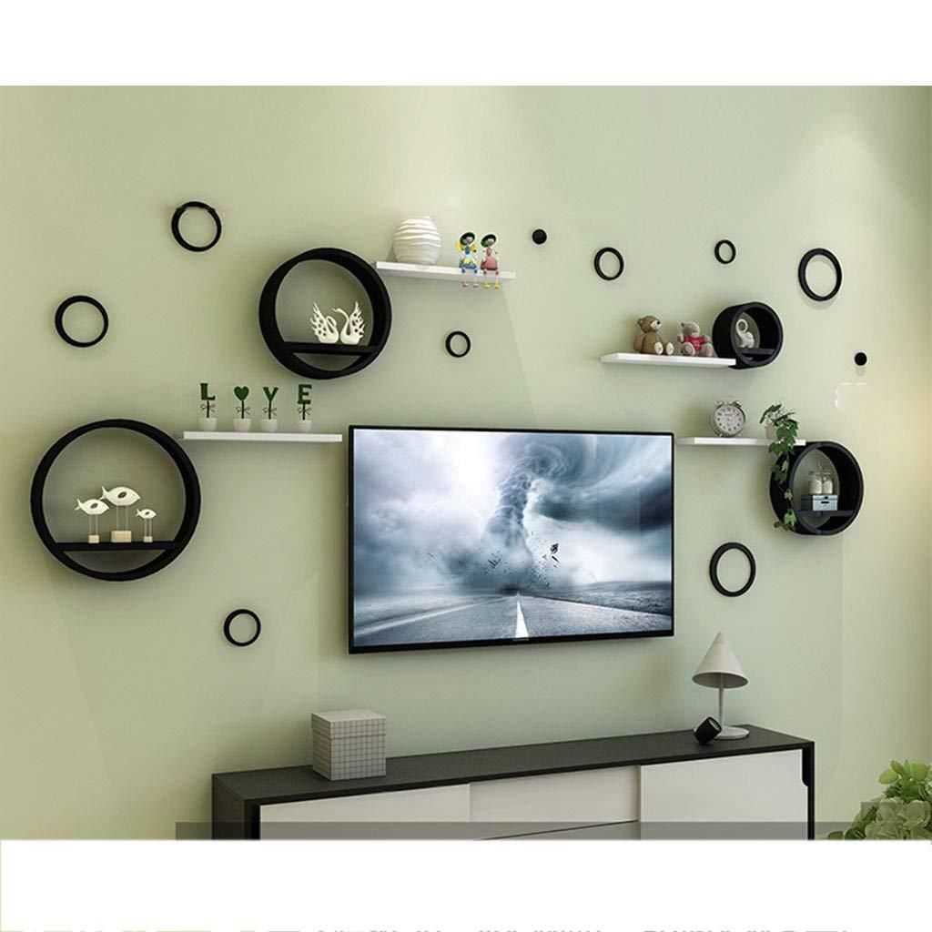 Amazon com ltjtvfxq shelf bedroom wall hanging creative lattice stand clapboard round modern minimalist tv background wall decoration frame color e