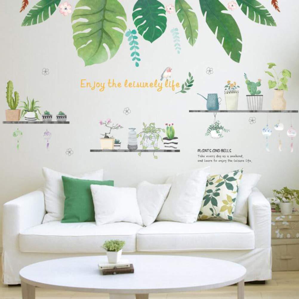 Vosarea Cactus Sticker Mural PVC Amovible Vert Plantes Cactus Art Autocollant pour Chambre Salon D/écor