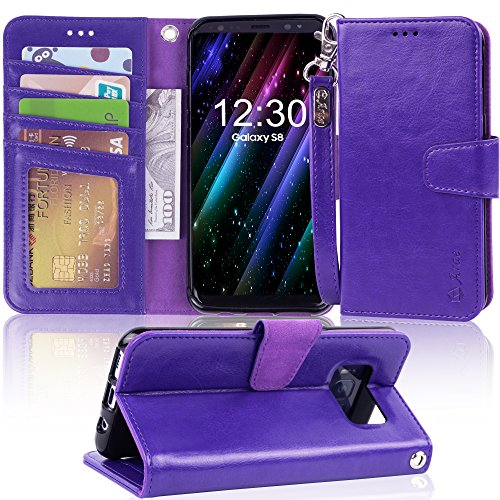 Galaxy s8 Case, Arae [Wrist Strap] Flip Folio [Kickstand Feature] PU leather wallet case with ID&Credit Card Pockets For Samsung Galaxy s8 (NOT for galaxy s8 plus) (purple) by Arae