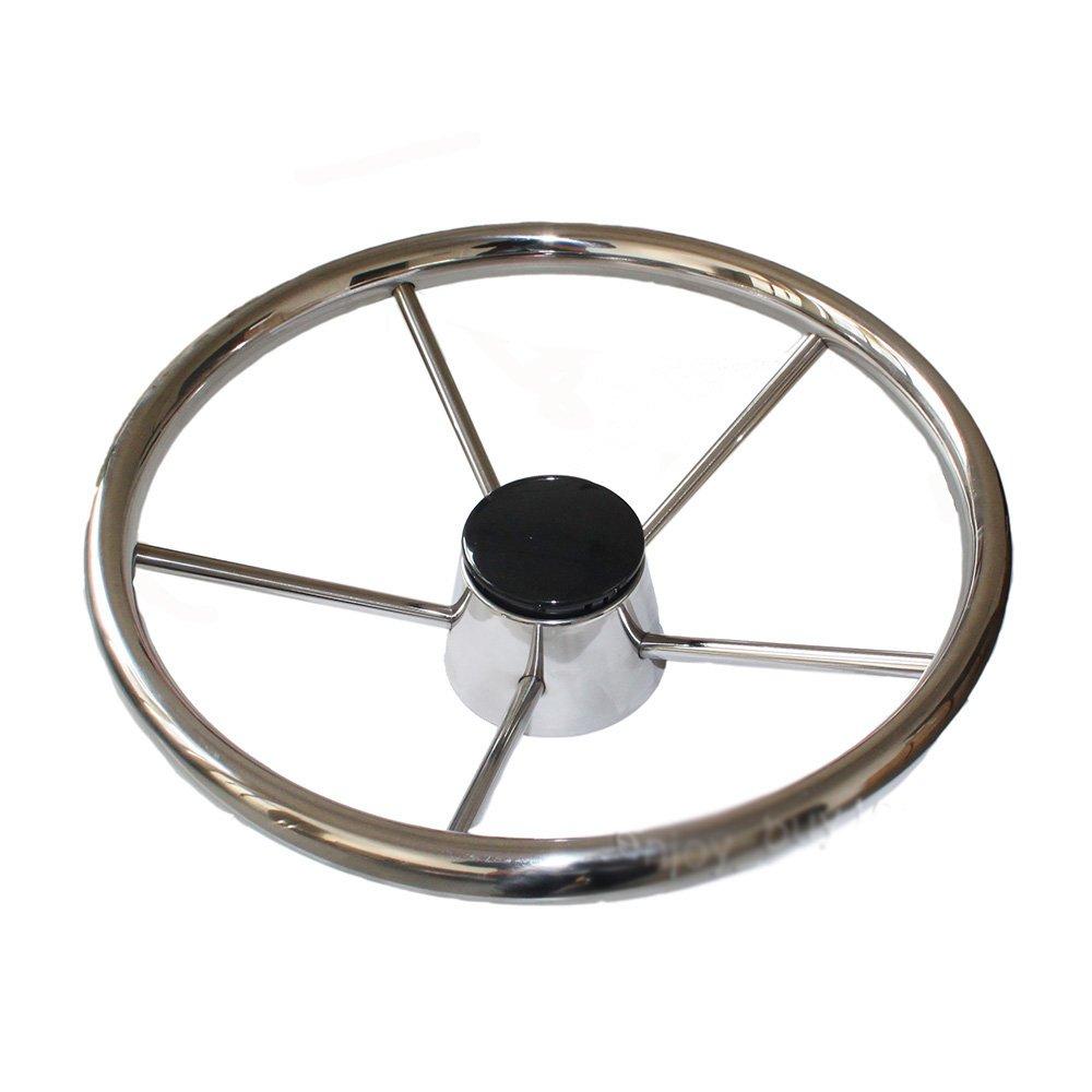X-Haibei 13-1/2'' Destroyer Style 5 Spoke Steering Wheel Stainless Steel for Marine Sport
