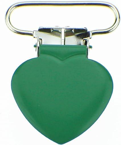 5 Heart 3//4 Inch White Enamel Suspender Passy Binky Pacifier Mitten Clip