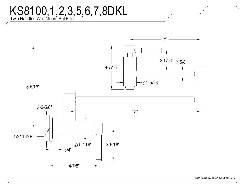 Kingston Brass KS8106DKL Concord Wall Mount Pot Filler Kitchen Faucet Polished Nickel