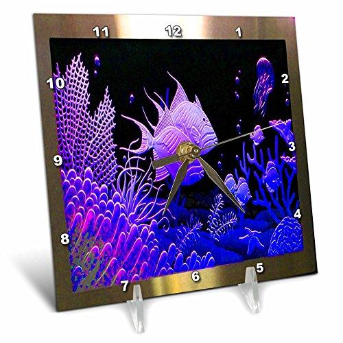 (3D Rose Neon Purple Fish in a Aquarium Metal Frame with Coral and Ocean Life Desk Clock, 6