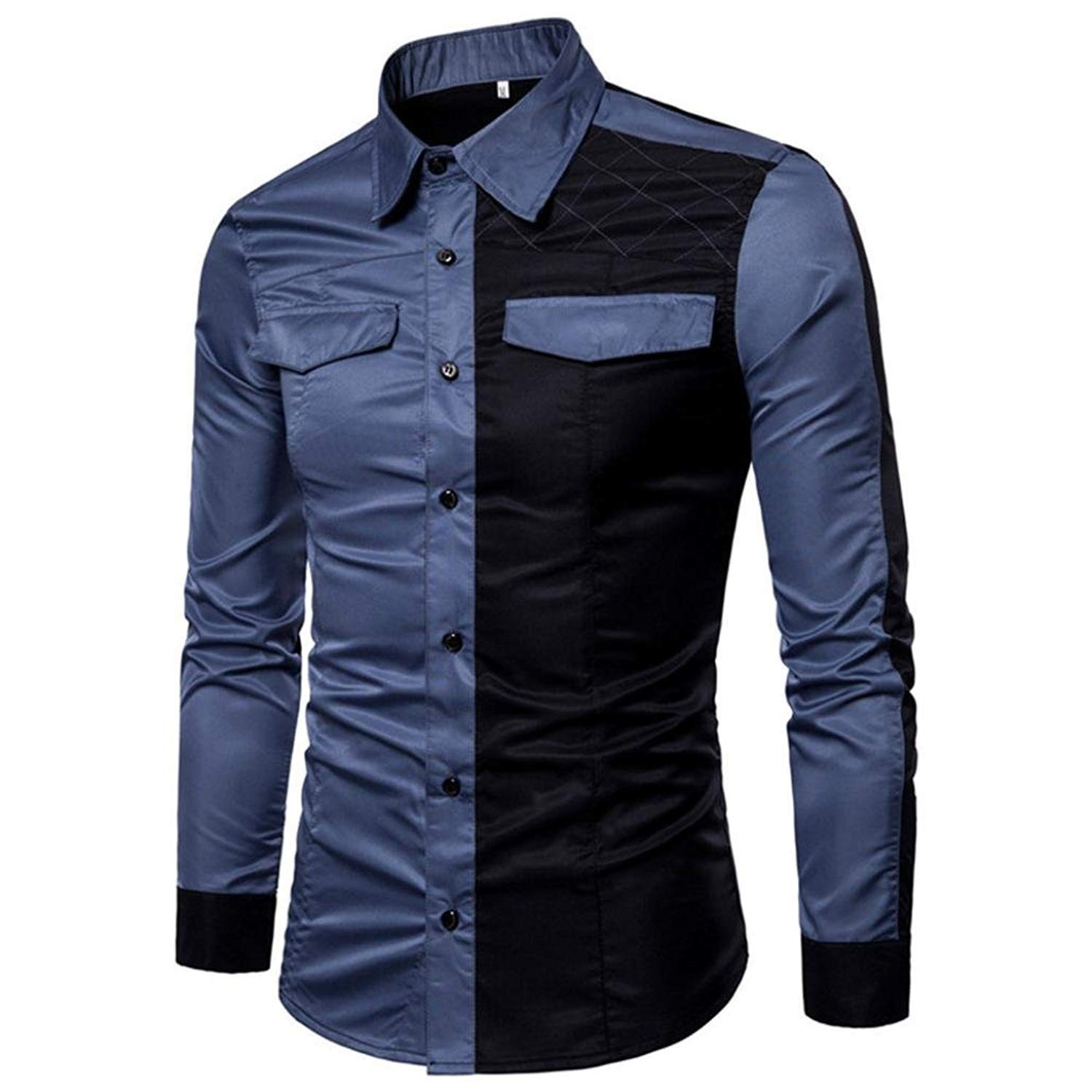 Easytoy Men's Patchwork Long Sleeve Button Down Oxford Dress Shirts Top Blouse (Blue, XL)