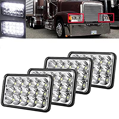 """4""""x6"""" H4 LED Headlamp Seal Beam Conversion Headlight High Power for Freightliner FLD120 112, 4Pcs 2 Year Warranty"""