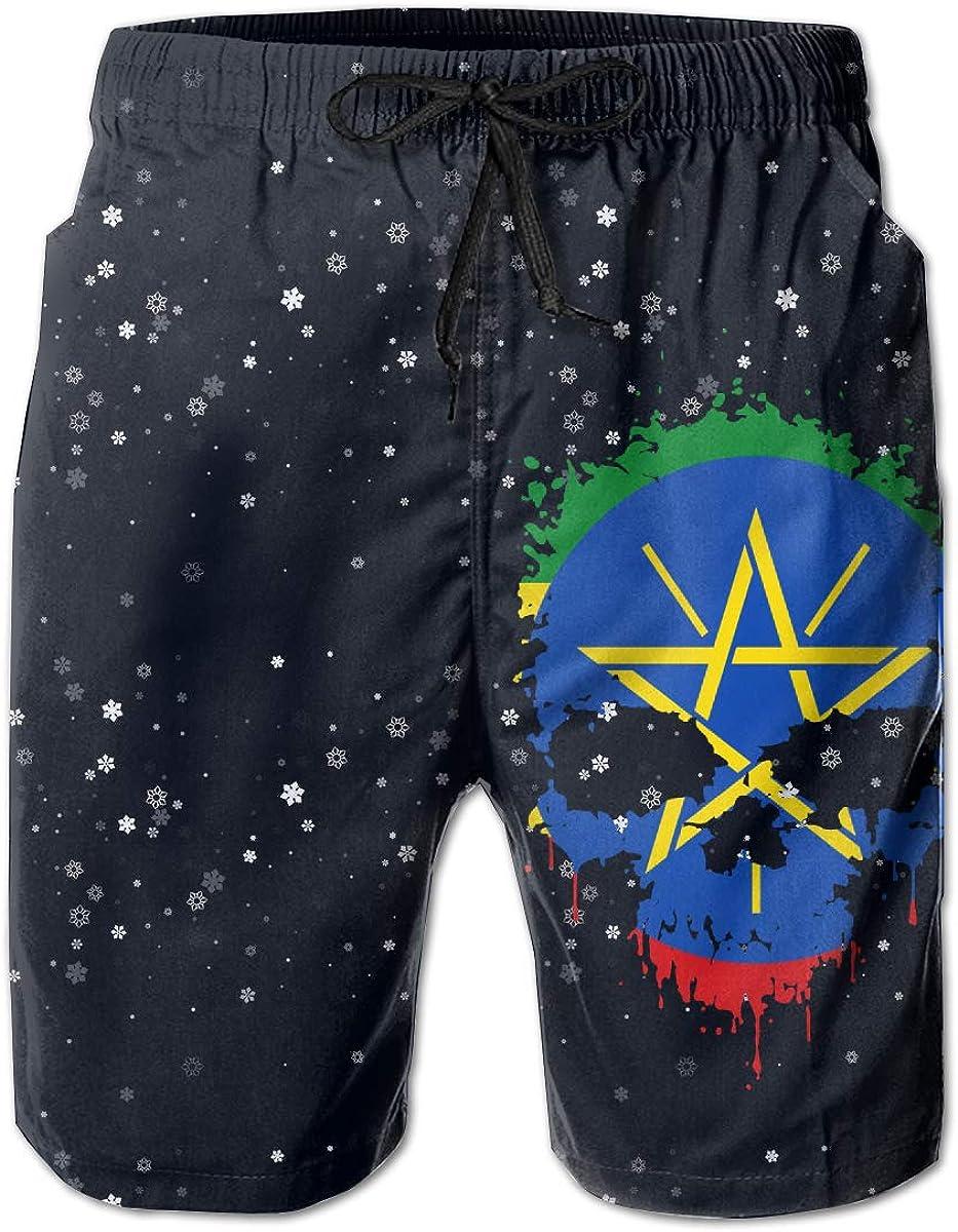 STDKNSK9 Mens Ethiopia Flag Splatter Skull Boardshorts Beach Shorts