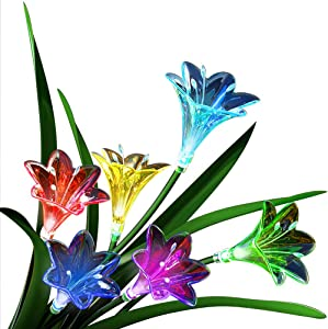 Solar Garden Lights Outdoor Decorative, Colorfast Solar Flower Lights with 1200mAh Battery, Multi-Color Changing LED Solar Powered Lily Lights Outdoor Waterproof for Patio, Lawn, Yard, Pathway(2 Pack)