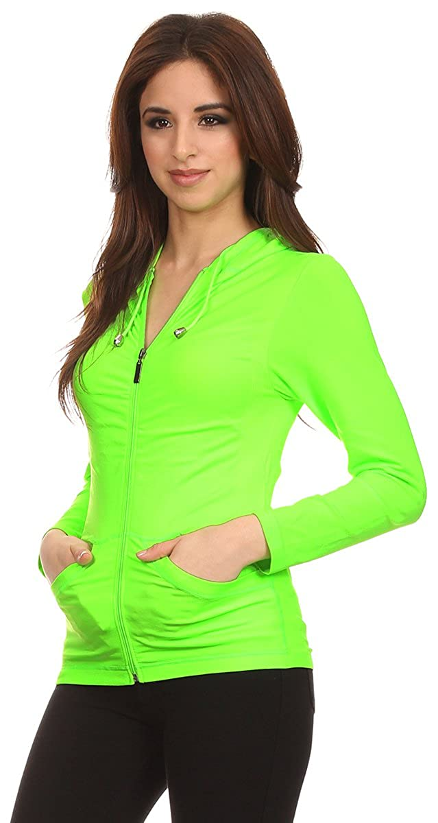 MelrisT Lotus Lightweight 4-Way Stretch Hooded Active Yoga Fitness Zumba Jacket with Pokets Zip Up/One Size