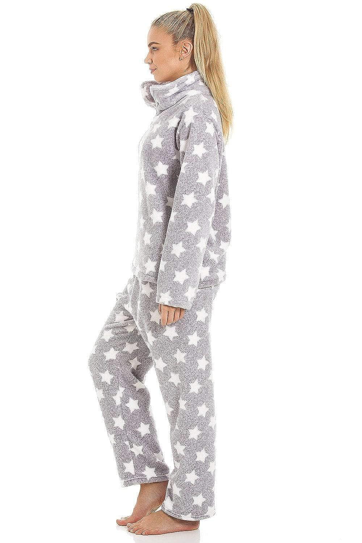 Motif /étoiles Camille Pyjama en Polaire Toucher Velours Blanc//Gris