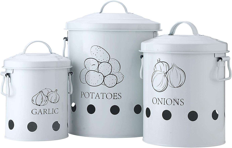 Cesta de Metal para Frutas ajo Verduras Acero 1 G.a HOMEFAVOR Juego de 3 Recipiente para Patatas 23 x 23 x 27