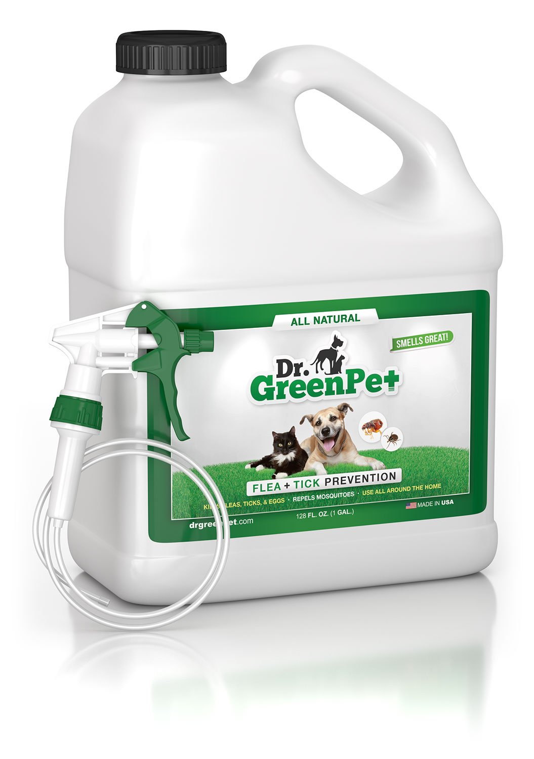 Dr. GreenPet All Natural Flea and Tick Prevention and Control Spray for Dogs and Cats - 1 Gallon - Smells Great!